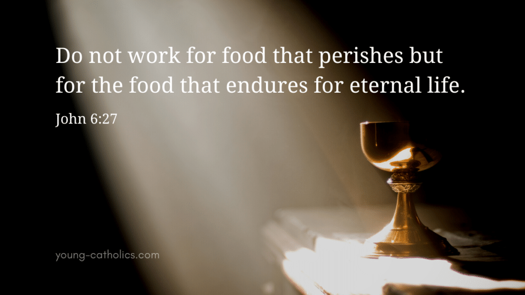"""""""Do not work for food that perishes but for the food that endures for eternal life."""" with an image of light shining on an altar with a chalice"""