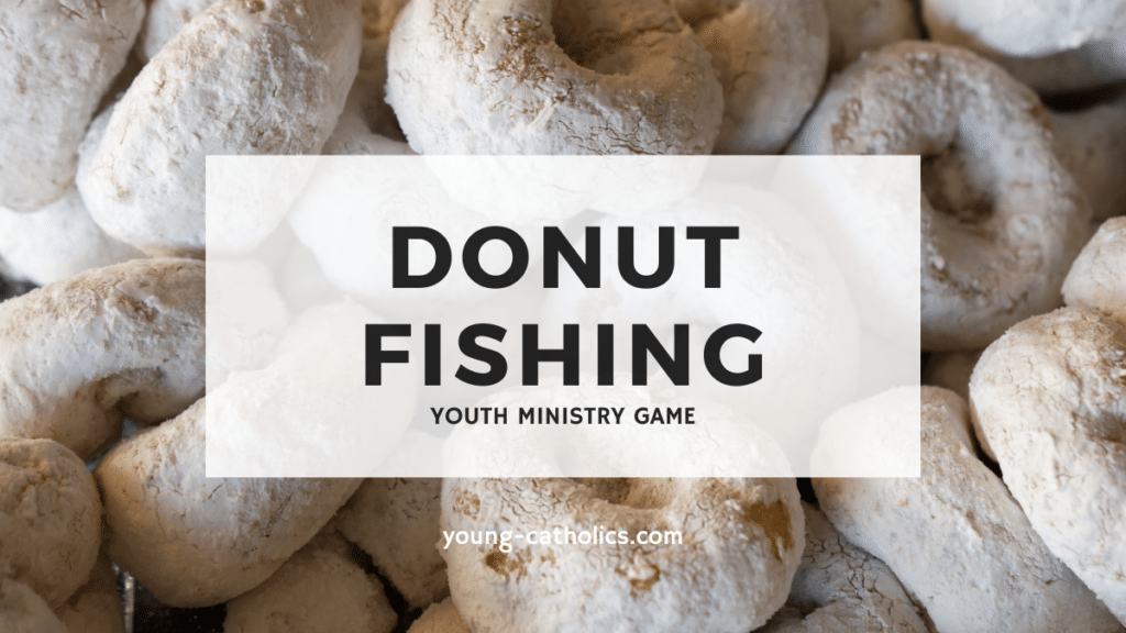Donut fishing is a youth ministry game involving powder sugar donuts