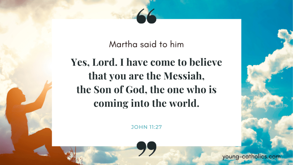 """""""Yes, Lord. I have come to believe that you are the Messiah, the Son of God."""" with a woman praying in a beautiful outdoor background"""