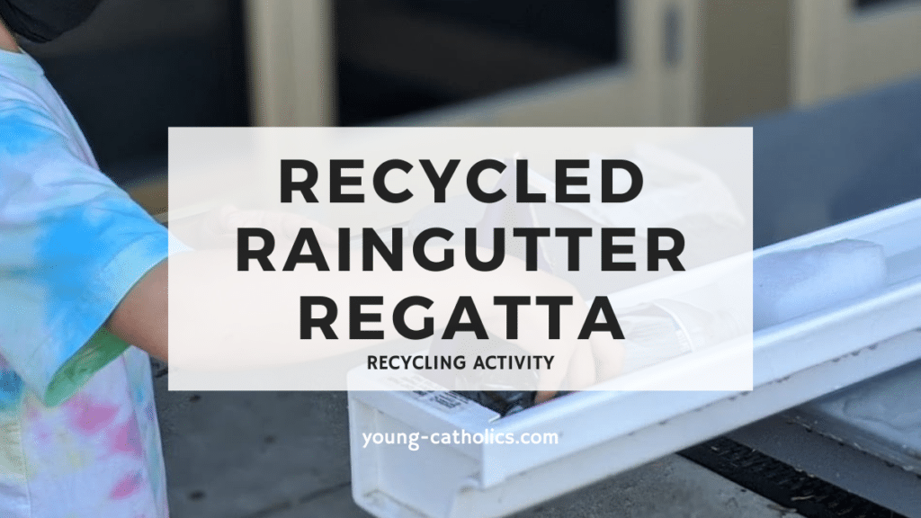 Recycling activities: in a raingutter regatta a child floats a homemade boat in a rain gutter filled with water.