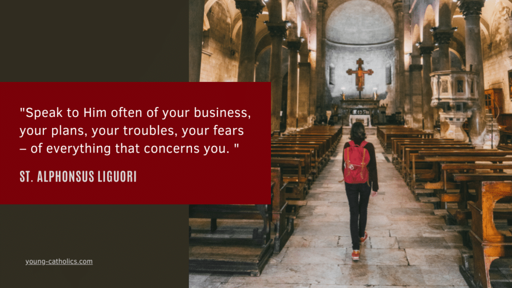 St. Alphonsus Liguori quote with a young woman walking into a Catholic church