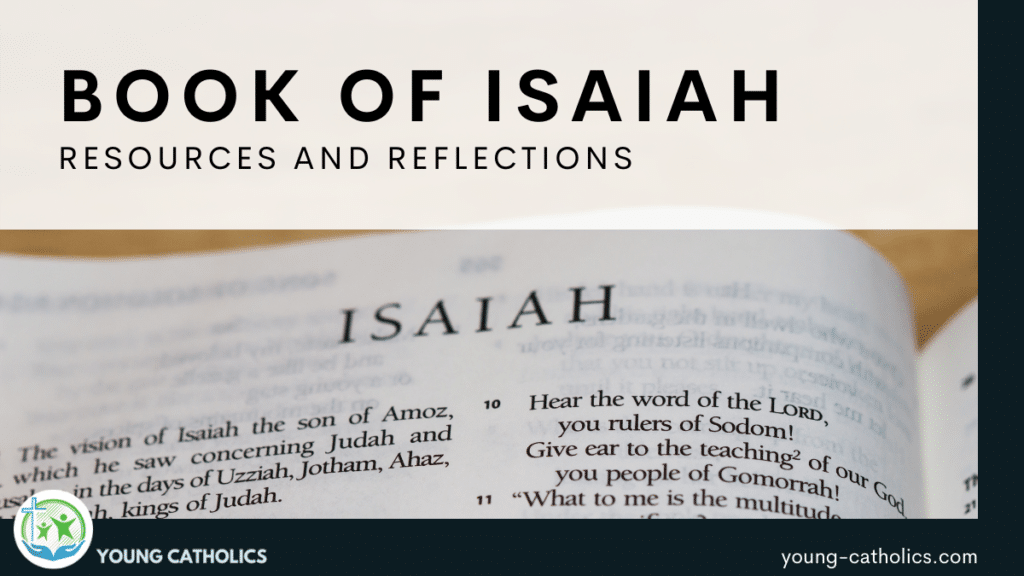 The title indicating resources for the Book of Isaiah with an image of a bible open to the book of the prophet Isaiah