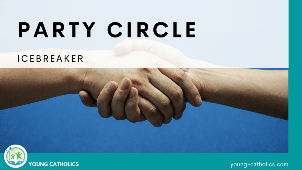 """The title """"Party Circle Icebreaker"""" over an image of a handshake."""