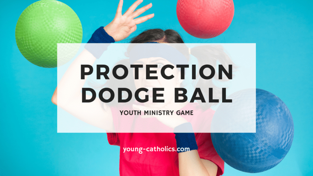 """The title """"Protection Dodge Ball"""" with a photo of a girl avoiding three dodgeballs being thrown at her."""