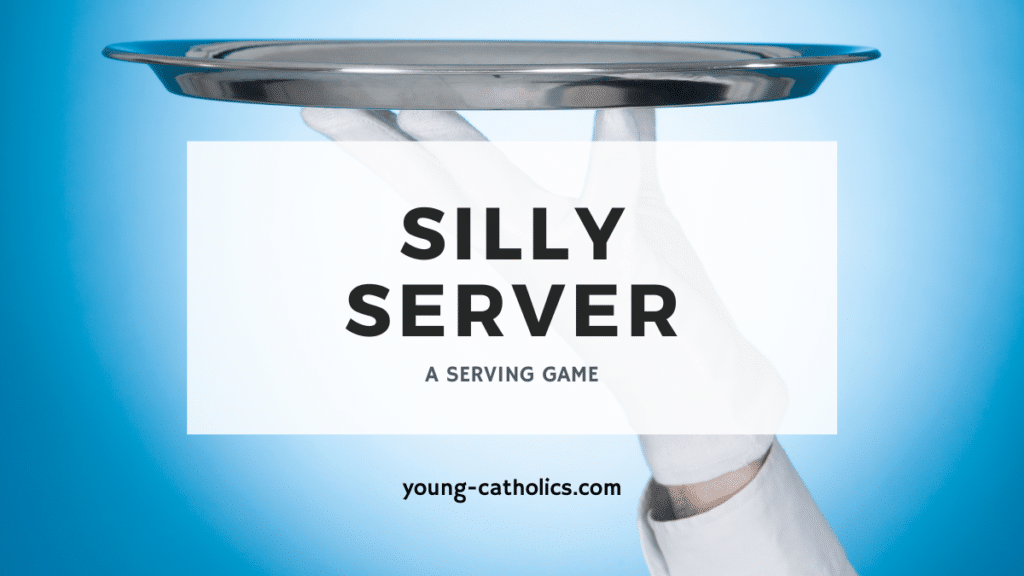 """The title """"Silly Server - A Serving Game"""" with an image of a waiter balancing a tray on his fingertips."""