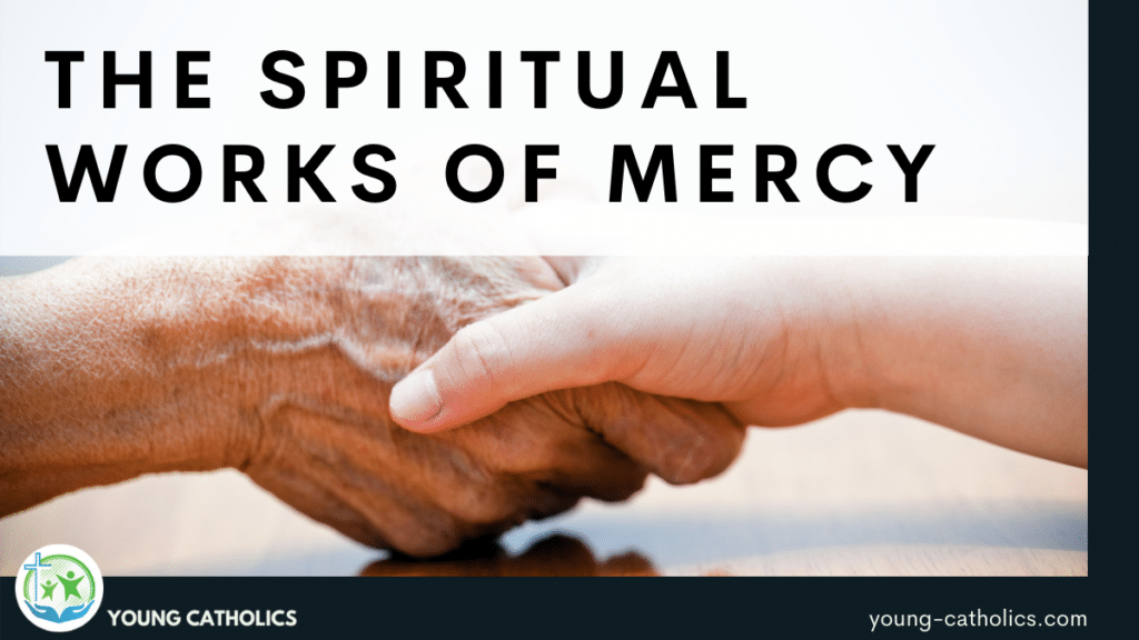 """The title """"Spiritual Works of Mercy"""" over an image of a young hand holding an older hand, a symbol of comfort and help."""