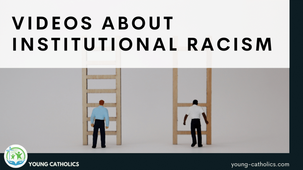 """The title """"Videos about institutional racism"""" with an image of two men standing in front of ladders, one man white and the other black. The black man's ladder has most of the rungs removed, making it difficult for him to move up."""