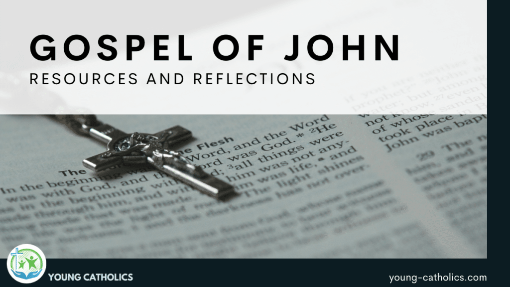 The title indicating resources for the Gospel of John over an image of a bible open to the first chapter of Johe, with a small crucifix.