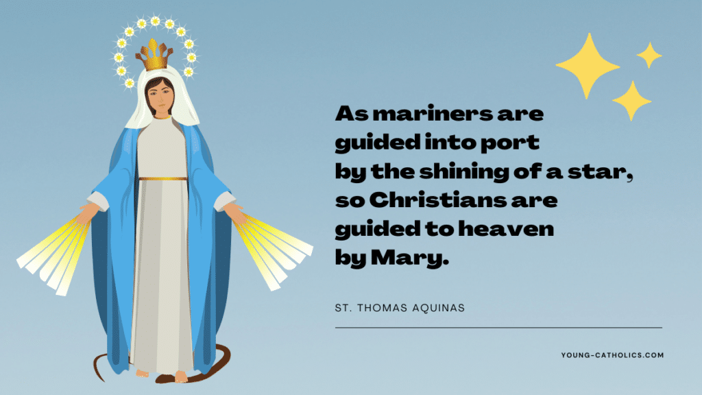 An Assumption of Mary quote about how Our Blessed Mother guides us to heaven. Has an image of Mary with a crown on her head, light coming from her hands, and a serpent under her feet.
