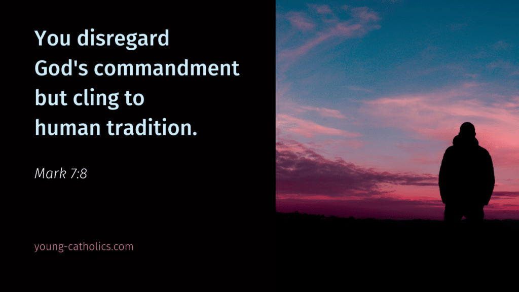 The bible verse about human traditions with an image of a man looking at a sunset, contemplating what is truly important.