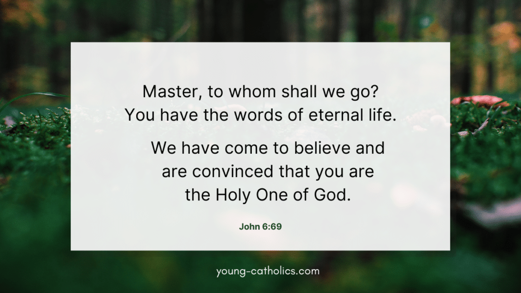 """The quote about """"We have come to believe and are convinced that you are the Holy one of God"""" on a background of flowers and forest, symbolizing that Jesus is the source of life."""
