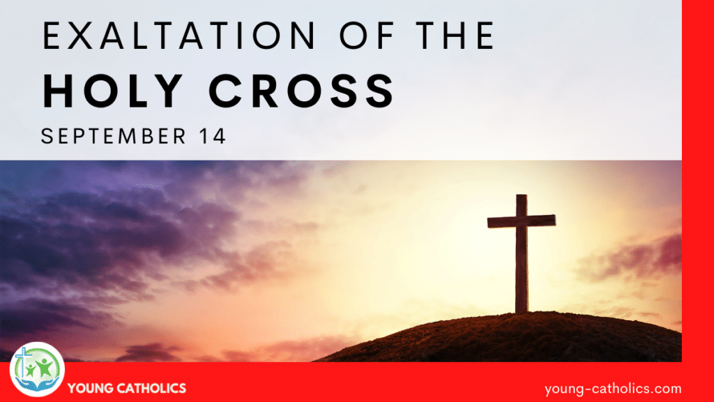 An image of a cross on a hill at sunset, indicating the focus for the Feast Day of the Exaltation of the Holy Cross