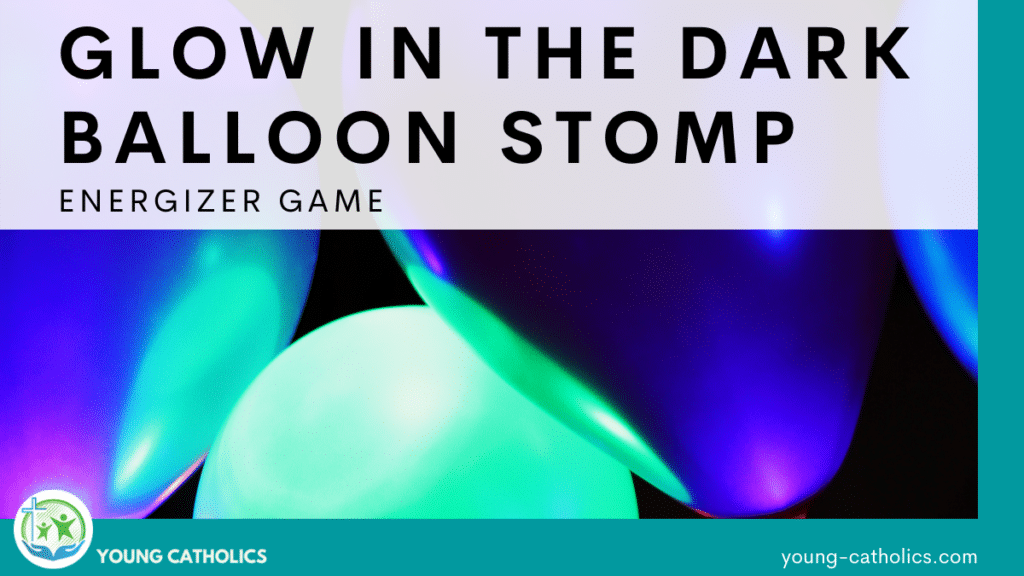 Glowing balloons, indicating that this game is played by making glow in the dark balloons and stomping on them.