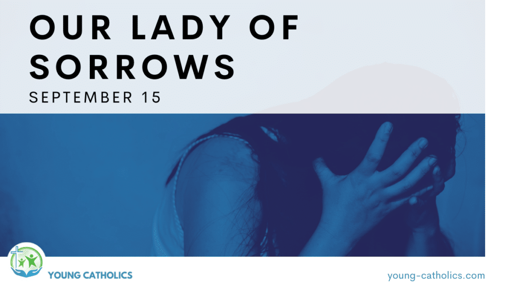 An image of a sorrowful woman in blue tones, to represent Our Lady of Sorrows