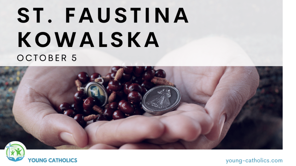 St. Faustina - October 5. An image of a woman's hands holding a Divine Mercy rosary, to represent St. Faustina Kowalska.