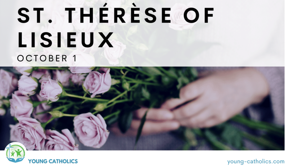 A woman holding roses, to represent St. Thérèse of Lisieux, also know as the Little Flower of the Child Jesus.