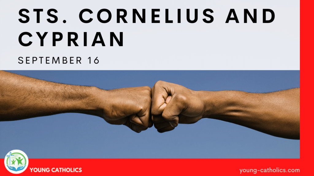 Two men giving a fist bump, representing the close relationship between Sts. Cornelius and Cyprian