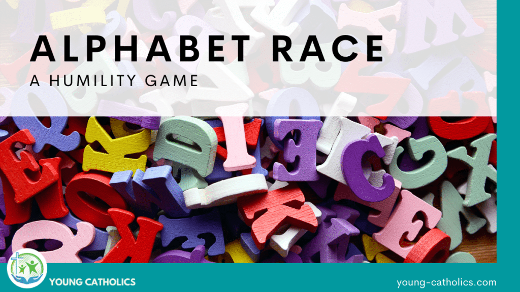 An image of alphabet letters with the title Alphabet Race - A Humility Game
