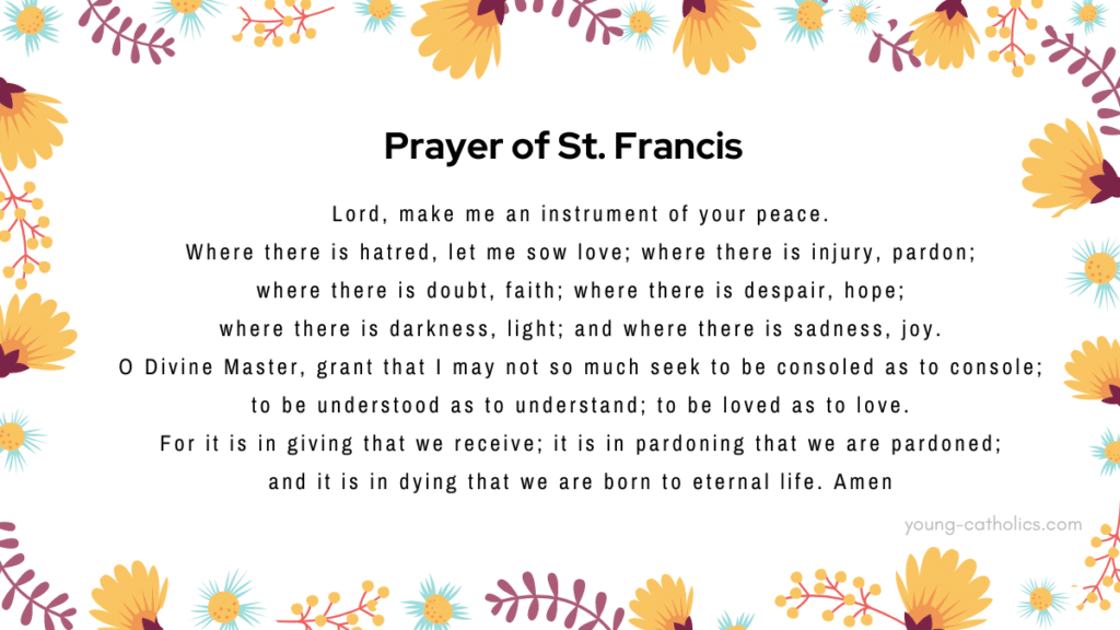 The prayer of St. Francis (Peace Prayer) on a social media graphic, surrounded by flowers.