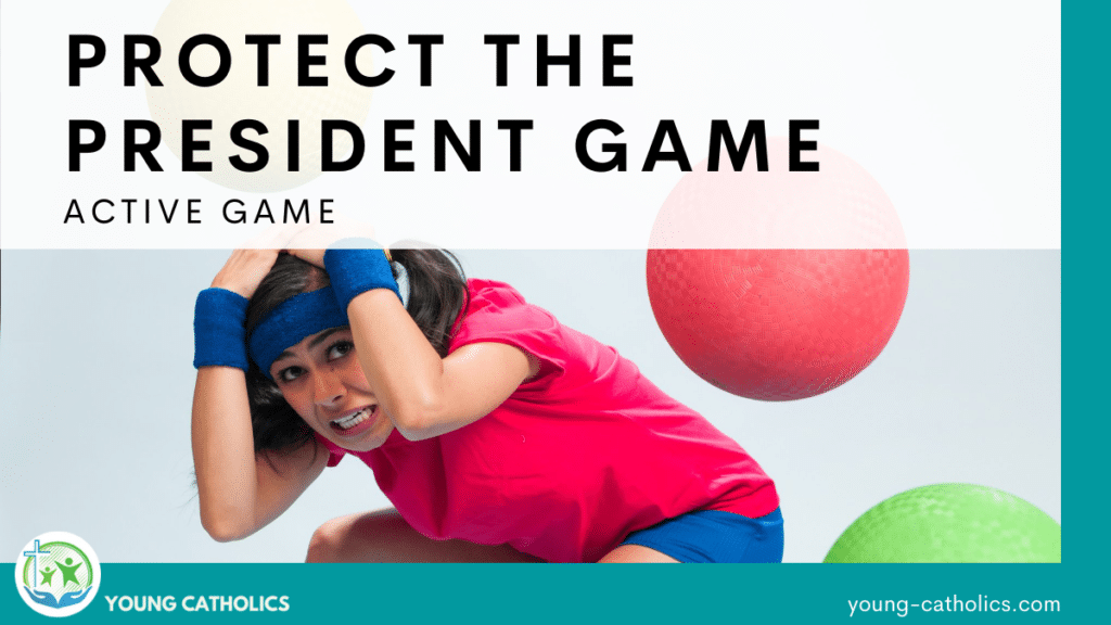 A girl dodging balls like the president might do in this protect the president game.